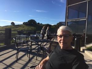 Steve enjoying the sun, view and fabulous wine!