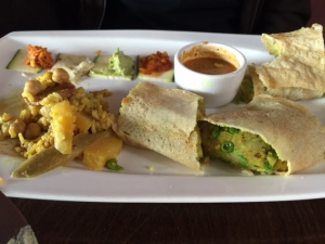 Lentil Dosa with several sauces & chutneys! Oops, started eating it before I got a photo. It was that good!