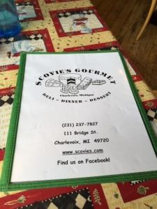 Scovie's menu