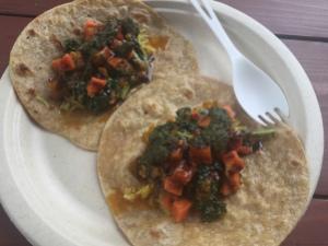 vegan tacos wrapped in delicious paratha bread