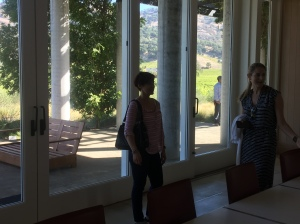 Kim and I discussing Cliff Lede Winery!